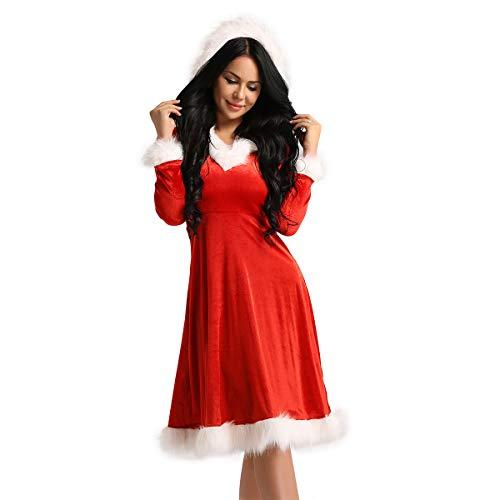 Alvivi Robe de Noël Manches Longues Femme Fille Hiver Vintage Robe à Capuche Velours Mère Noël Longue Robe de Cocktail Soirée Manteau Déguisement Mère Noël Claus A Rouge Medium