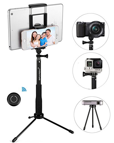 Selfie Stick Tripod, GRANDO 2 in 1 Clip Extendable Monopod with Bluetooth Remote and Tripod Stand for Tablet, Apple, Android & Cameras Black (Black)
