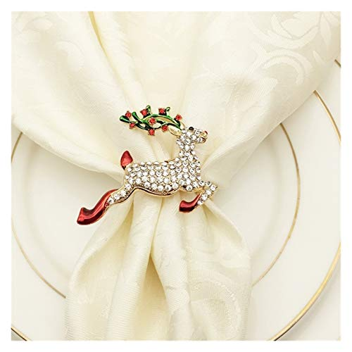 MENGzhuHSA Fashion 6PCS Metal Colored Elk Christmas Napkin Ring Wedding Banquet Hotel Table Supplies Decoration Accessories (Color : Gold)