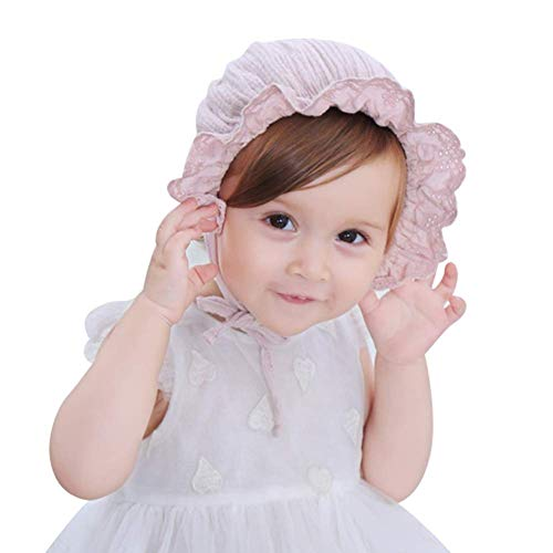 GenericBrands 2PCS Girls Summer Anti-UV Sun Protection Hats Caps Breathable Cotton Beanie Hats Adjustable Cute Infant Children Floral Hat For Girls Age 2 To 18 Months