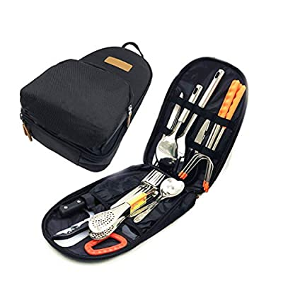 Papa Care Camp Kitchen Utensil Set 27 Piece Organizer Travel Portable BBQ Camping Cookware Utensils Kit