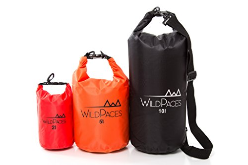 WildPaces - WATERPROOF FLOATING DRY BAG SET OF 3-10 Liter 5 Liter 2 Liter - Durable Technical PVC - Roll Top for Swimming Kayaking Cycling Biking Camping Hiking Beach Boating Skiing