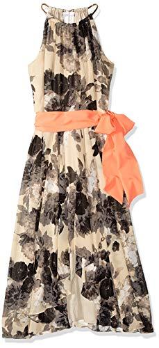 Eliza J Women's Chiffon Patterned High-Low Dress, Taupe, 24 Plus