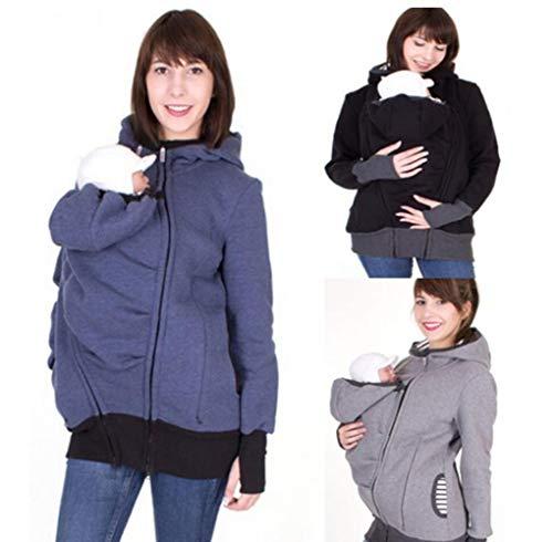 3 in 1 Kängurujacke Umstands und Tragejacke, Damen Langarm Umstandsjacke Kapuze Sweatshirt Abnehmbar Warm Tragepullover mit Baby Carriers,Blau,S