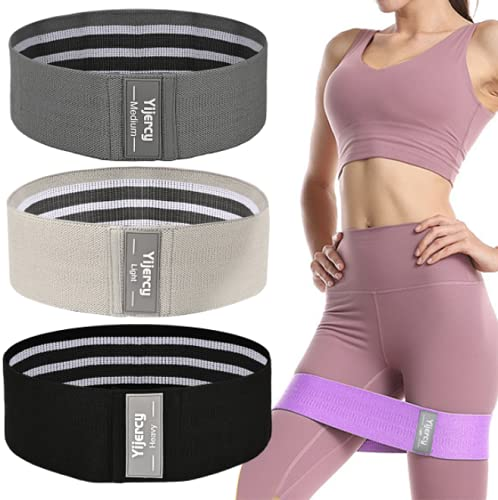 Resistance Bands for Legs and Butt-3 Levels Exercise Bands with Non Slip Hip Workout Bands, Booty Bands Elastic Strength Fitness Bands for Women,Pilates Exercise in Home (Black. Grey. Light Gray)