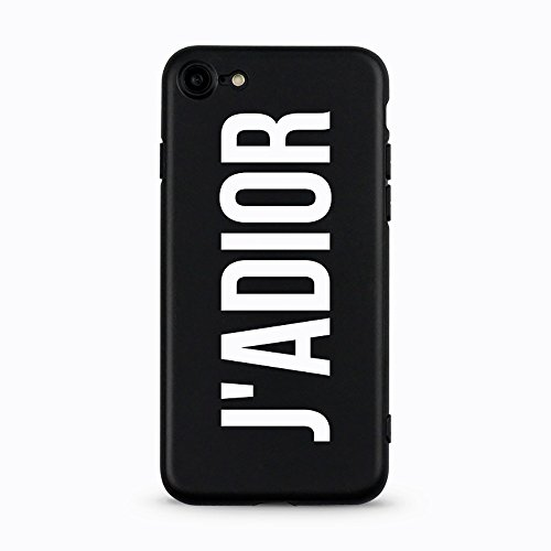AVANA iPhone 7 / iPhone 8 Hülle Ultra Dünne Schutzhülle Flexibles Slim Fit Case Schwarze Handyhülle Tasche Silikon Black Cover Kameraschutz Muster (J'ADIOR)