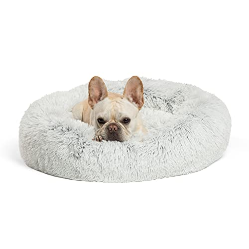 Best Friends by Sheri The Original Calming Donut Cat and Dog Bed in Shag Fur, Machine Washable, for Pets up to 25 lbs. - Small 23'x23' in Frost