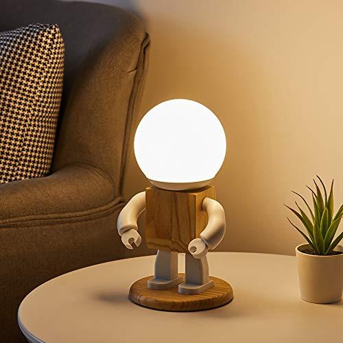 weichuang Luz nocturna LED Nordic Lindo Robot Pequeñas Lámparas de Mesa Dormitorio Mesita de Dormitorio Salón Tocador Estudio Lámpara de Escritorio Luces Decorativas de Noche (Color: Como se muestra)