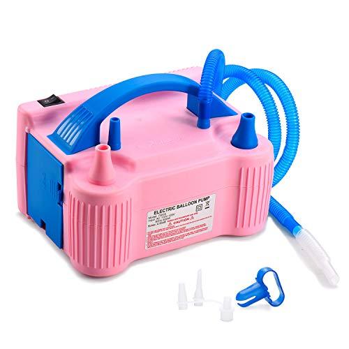 MESHA Electric Balloon Pump Air Pump Inflator Portable Dual Nozzle Red Rose Air Balloon Pump Filler Inflator/Blower for for Balloon Arch,Balloon Column Stand 110V 600W Air Pump (Pink)