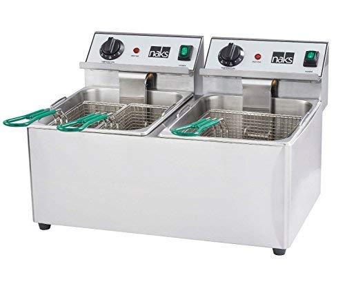 HOODMART NAKS FD-30 Commercial Countertop Deep Fryer with 30 lb, Silver, 0
