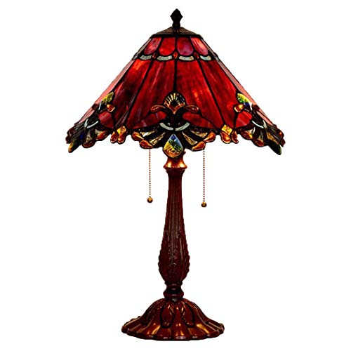 DSHBB Tiffany Style tafellamp, romantisch, glas in lood tafellampen met rits schakelaar, Retro Woonkamer, slaapkamer Huwelijkskamer Decoratie Nachtlampje 40W