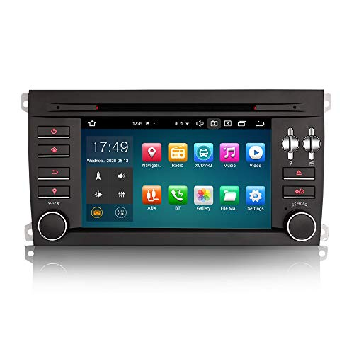 ERISIN 7 Zoll Android 10.0 Autoradio für Porsche Cayenne Unterstützt GPS-Navi Carplay Android Auto DSP DVD Bluetooth A2DP DVB-T/T2 WiFi 4G DAB+ 8-Kern 4GB RAM+64GB ROM