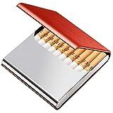 革シガレットケース キングサイズ タバコ10本収納 レディース タバコケース PU革&ステンレス オシャレ ビジネス Tenfel タバコボックス 男女兼用