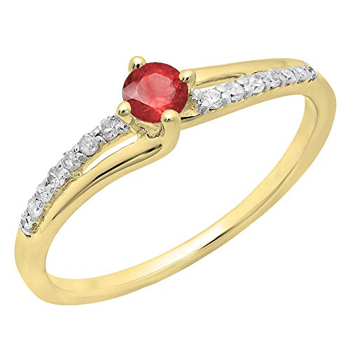Dazzlingrock Collection Round Ruby & White Diamond Ladies Bridal Wave Promise Engagement Ring, 10K Yellow Gold, Size 7