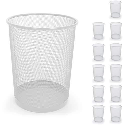 Smart Design Steel Metal Mesh Waste Basket - Easy to Clean Design - Garbage, Paper Clutter, Trash Can Bin - Home & Office (11.75 x 13.75 Inch) (White)