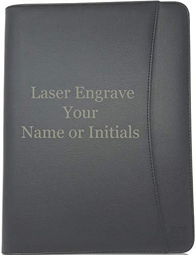 Lautus Designs Personalized Padfolio Engraved Lean Black Faux Leather Business Portfolio File product image