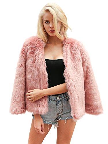 Simplee Apparel Women's Autumn Winter Warm Fluffy Faux Fur Coat Jacket Cardigan, Pink, 6, Large
