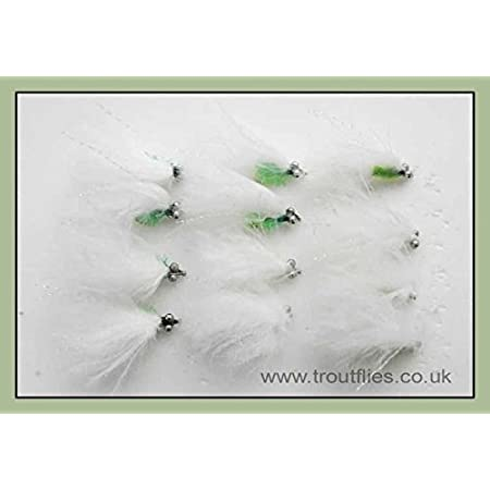 Cats Whisker Trout Fly Fishing Flies 3 Black//Green And 3 White//Green