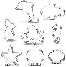 Anokay 8-delig fondant uitsteekvormpjes schelp ster zeepaardjes van roestvrij staal voor taartdecoratie bakken accessoires