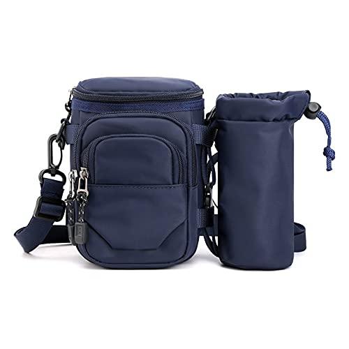 Bolsillos deportivos multifunción, bolsillos para hombre y mujer, bolsillos para correr, para montar a caballo, cinturón y hervidor de agua (color: azul marino)