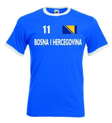 Bosna Herzegovina Retro T-Shirt Bosnien Trikot Nr.11|r-s