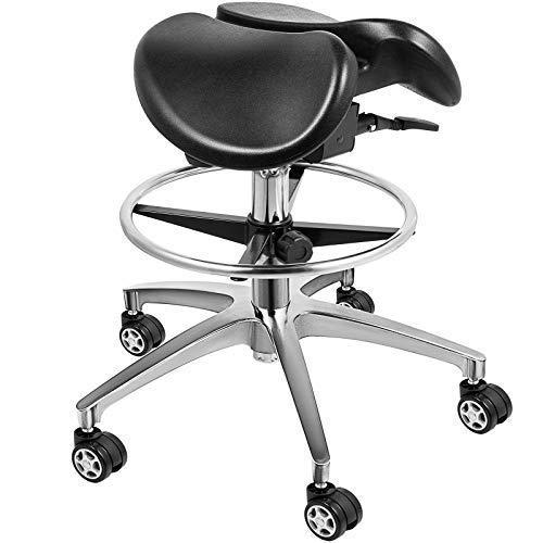 Happybuy Saddle Salon Massage Chair Black Adjustable Swivel Hydraulic Gas Lift Ergonomic Stool for Doctors Dentist Massage Spa Salon