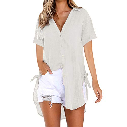 Momoxi Damen Sommer Loose Button Long Shirt Kleid Baumwolle Casual Tops T-Shirt Bluse Frauen Fashion Top Tank Button Kurzarm Shirt Abendkleider Damen Schuhe unterwäsche Dessous Khaki L