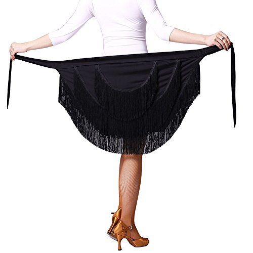 [LNIGHT] ラテンダンス用巻きスカート 三層フリンジ レッスン着 ラテンダンス 不規則な ラップスカート レディース 練習着スカートステージ舞台衣装 ダンス衣装(ブラック)