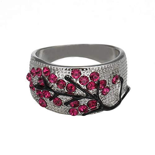 Goddesslili Ruby Cubic Zirconia Rings for Women Girlfriend Girls Crystal Vintage Large Wedding Engagement Anniversary Luxury Jewelry Gift Under 5 Dollars Size 5-11 (6)