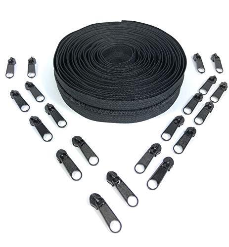 Nuburi - Zipper by The Yard - 5 Yards of Make Your Own Zipper - 20 Zipper Pulls (Black)