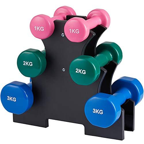 Kurzhanteln Fitness Hanteln 6er Set Hantelset mit Hantelständer, 2 x 1 kg, 2 x 2 kg, 2 x 3 kg für Gymnastik, Aerobic, Pilates Fitness Krafttraining für Frauen, zu Hause Fitnessstudio