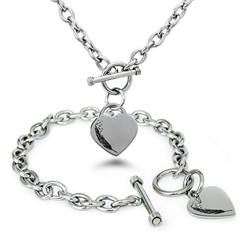 Tioneer Stainless Steel Feather Birds Heart Charm, Bracelet and Necklace Set