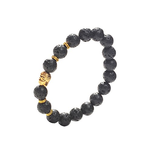 Earth Therapy Buddha Root Chakra Lava Rock Bracelet - Gold Plated Volcanic Lava Healing Buddha Bracelet for Men, Women, and Yogis