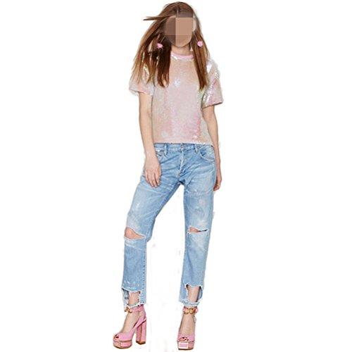 OULII Femmes Sparkle Paillettes Shimmer Glitter Shirts T-Shirt à Manches Courtes Dessus en Vrac pour Nightclub et Bars Taille XXL (Rose)
