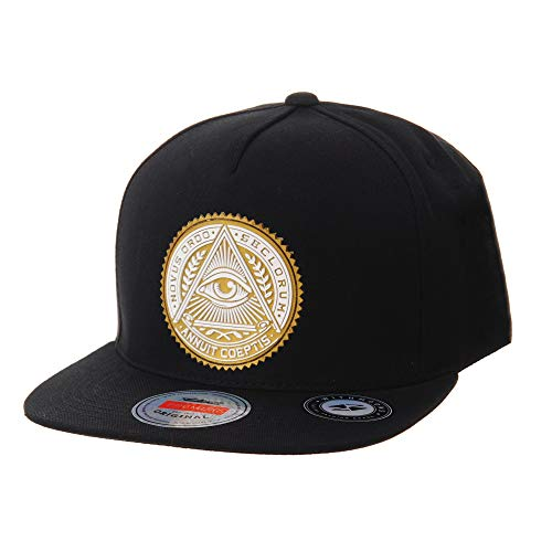 WITHMOONS Casquette de Baseball Snapback Hat Illuminati Patch Hip Hop Baseball Cap AL2344 (Gold)
