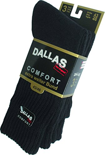 Dallas Sport & Arbeitssocke Komfort 3er Pack (39-42, schwarz)