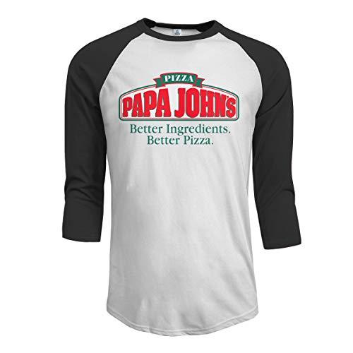 Men's Classic PAPA John's Logo T Shirt Casual Half Sleeve O-Neck Tee Shirts Cotton Summer T-Shirt Black XL