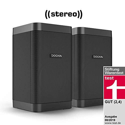 Altavoz DOCKIN D Fine Cube Bluetooth Stereo Link Paquete, Crossover de Alta fidelidad, 25 W, 12 Horas de batería, Modo estéreo, Compacto, fácil de Transportar y IP55 Resistente al Agua