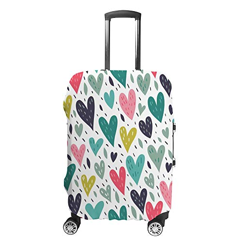 Luggage Cover Travel Anti-Scratch Suitcase Cover Baggage Protector Case Hearts on White Fit Washable Accessories Dustproof M