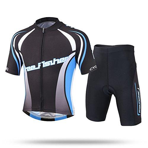 LSHEL Kinder Radsport Anzüge (Fahrrad Trikot Kurzarm + Radhose), Schwarz blau, 122/128(Herstellergröße: L)