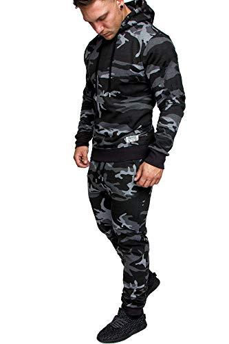 REPUBLIX Herren Cargo Stil Sportanzug Jogginganzug Trainingsanzug Sporthose+Hoodie R-0028 Camouflage Schwarz S