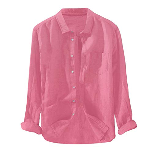 feftops Blusa de Camiseta Informal Suelta de Manga Larga de Color Sólido Cómodo Transpirable Breve Para Hombre Baratos Fina Camisa en Algodón y Lino Originales Otoño