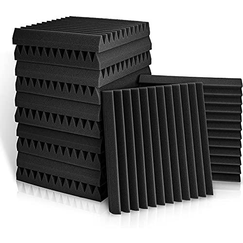 BUBOS 12 Piezas paneles acusticos,Aislante Acustico Espuma Acustica, Insonorizacion Acustica Pared Para Podcasting, Estudios de Grabación, Oficinas,ignífugos,30x30x2.5 cm (12 pack, Espuma)
