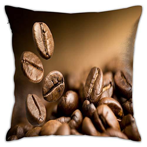 LINARUBE Funda de Cojín,Granos de café Tostado marrón cayendo sobre,Funda de Almohada Cuadrado para Sofá Coche Cama Sillas Decoración para Hogar(45 x 45cm)