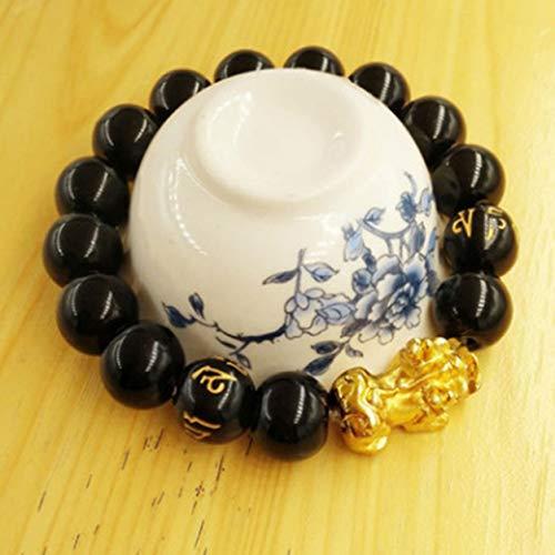 YXDS Bracelet Natural Stone Black Obsidian Pixiu Bracelet Pixiu Lucky Brave Troops Charms Jewelry for Women & Men