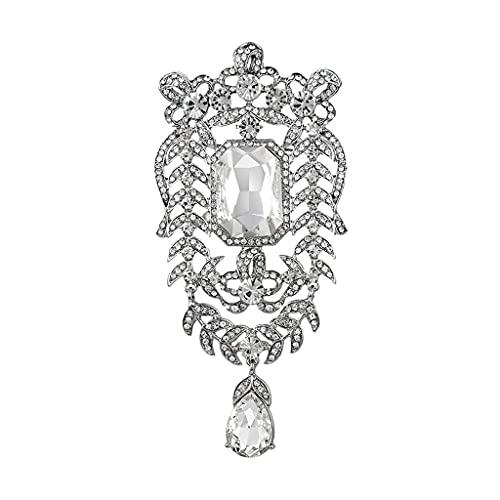 HBIN Color Plateado Chapado Crystal Rhinestones Tamaño de Gran tamaño Broches de Boda