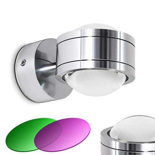 LED Wandlampe Indore, runde Wandleuchte aus Metall u. Glas in Aluminium, Wandspot 2-flammig mit Farbfliter in Magenta und Grün, 2 x 3 Watt, je 300 Lumen (600 Lumen insgesamt), 3000 Kelvin (warmweiß)