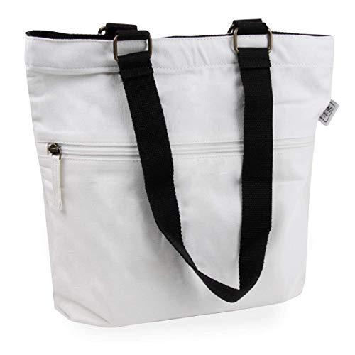 Cottonbagjoe Piccola borsa per il trasporto | 2 manici lunghi | 36 x 32 x 8 cm | con chiusura lampo e fondo grande | borsa in cotone | borsa per la spesa | materiale in tela
