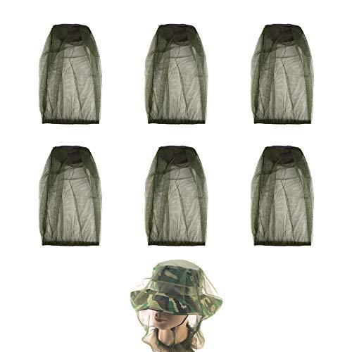 6Pcs Premium Head Net Face Mesh with Extra Fine Holes, Mosquito Hat Mask Head Cover for Camping Hiking Fishing Protecting from Insect Bug Bee Mosquito Gnats (6)