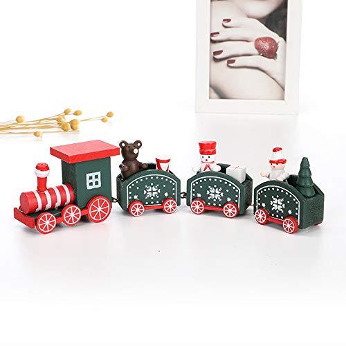 LEZED Tren de Juguete de Madera Ornamento de Navidad Tren de Madera decoración Juguete Feliz Navidad Regalos para Niños Jardín de Infancia Festivo (Verde)